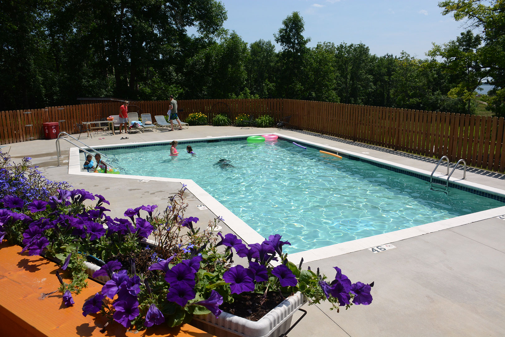 The heated pool at Little Winnie Resort is open from Memorial Day thru Labor Day.
