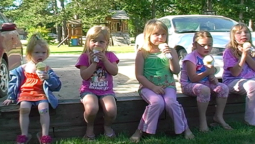 Kids love an ice cream cone from the lodge on a hot summer day.