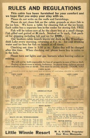Resort Price List from the 1930s.
