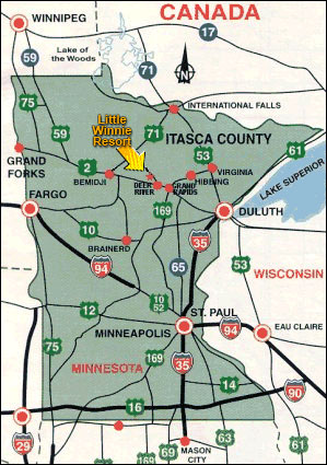Minnesota Canada Map.Directions Minnesota Family Resorts Little Winnie Resort In Deer