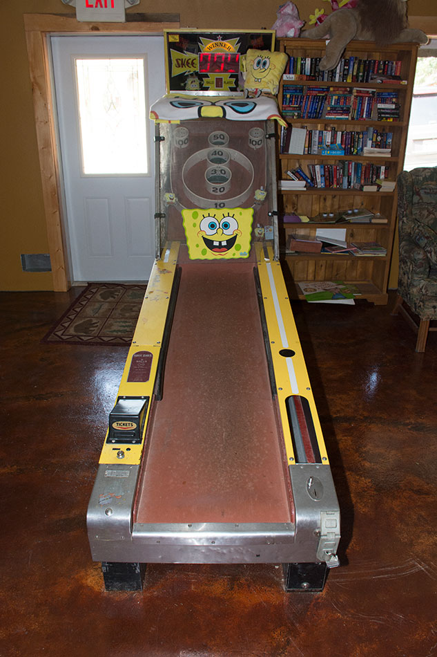 Come play skee-ball in our lodge.